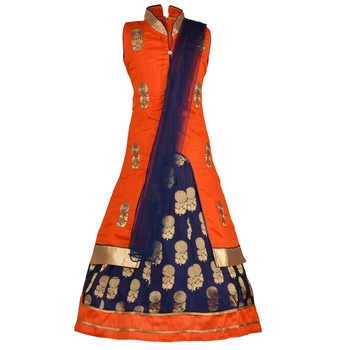 Orange Embroidered Art Silk Kids Lehenga Choli