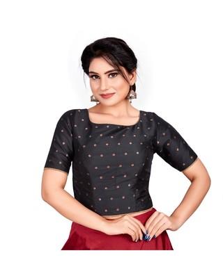 54ddc5fdd66e52 Black Taffeta Silk Readymade Padded Saree Blouse - Om Clothing - 2742909