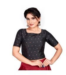 Buy Black Taffeta Silk Readymade Padded Saree Blouse readymade-blouse online