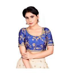 0vy Blue Dupion Silk Readymade Padded Saree Blouse