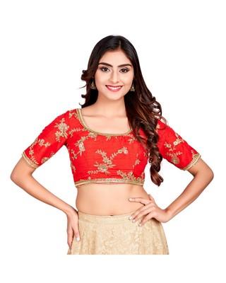 Red Dupion Silk Readymade Padded Saree Blouse