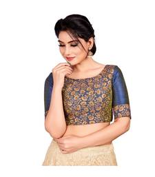 0vy Blue Brocade Readymade Padded Saree Blouse