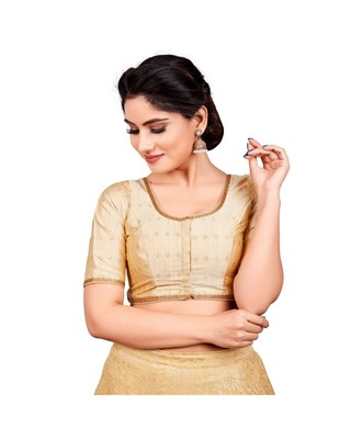 Gold Dupion Silk Readymade Padded Saree Blouse