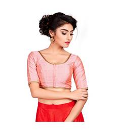 Light Pink Dupion Silk Readymade Padded Saree Blouse