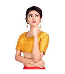 Yellow Dupion Silk Readymade Padded Saree Blouse
