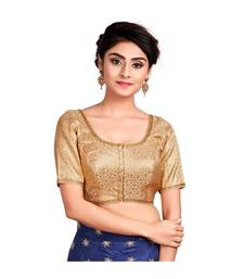 Gold Brocade Readymade Padded Saree Blouse
