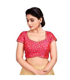 Pink Silk Readymade Padded Saree Blouse