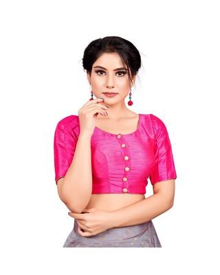 Pink Dupion Silk Readymade Padded Saree Blouse