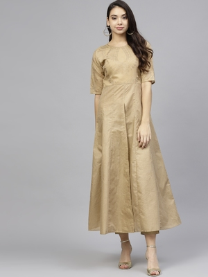 Beige printed chanderi kurti with pant
