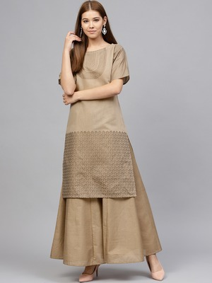 Beige printed chanderi kurti with bottom