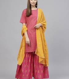 Pink printed cotton kurti wit Gharara & Dupatta