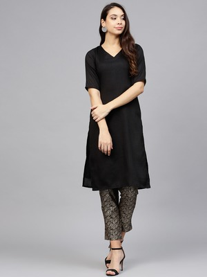 Black plain polyester kurtis with pant
