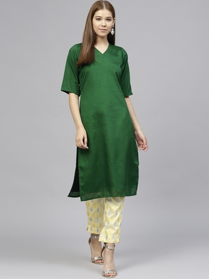 Green plain polyester kurti with pant