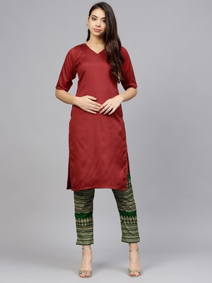 Red plain polyester kurti with pant