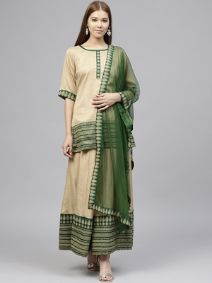 Beige printed polyester kurtis with Dupatta & Sharara