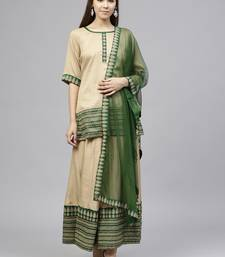 Beige printed polyester kurtis with Dupatta & Sharara