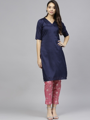 Blue plain polyester kurti with pant