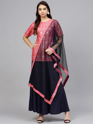 Pink printed crepe kurtis with Sharara & Dupatta