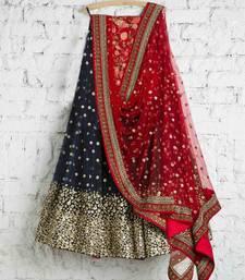 Buy Navy Georgette Embroidered lehenga Choli with Dupatta lehenga-choli online