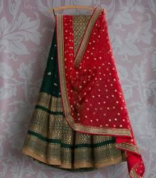 Buy Green Georgette Embroidered lehenga Choli with Dupatta lehenga-choli online