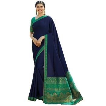 Blue woven faux georgette saree with blouse