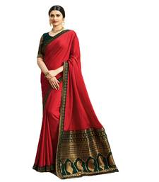 d4ef51410871c0 Red woven faux georgette saree with blouse