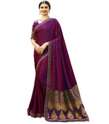 Purple woven faux georgette saree with blouse