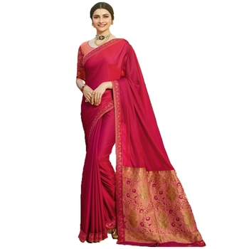 Pink woven faux georgette saree with blouse