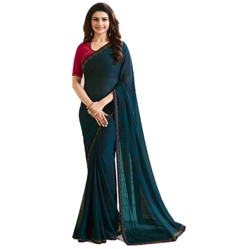 Dark green plain faux georgette saree with blouse