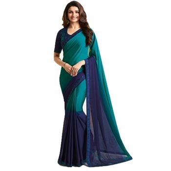 Blue plain faux georgette saree with blouse