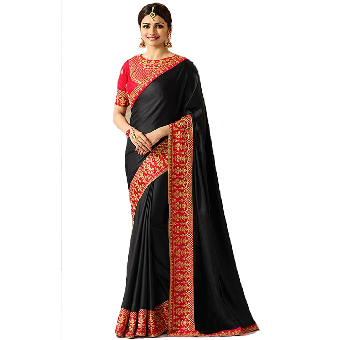 f5f772d1ffc7f8 Black embroidered faux georgette saree with blouse - Mannequin Store -  2743276