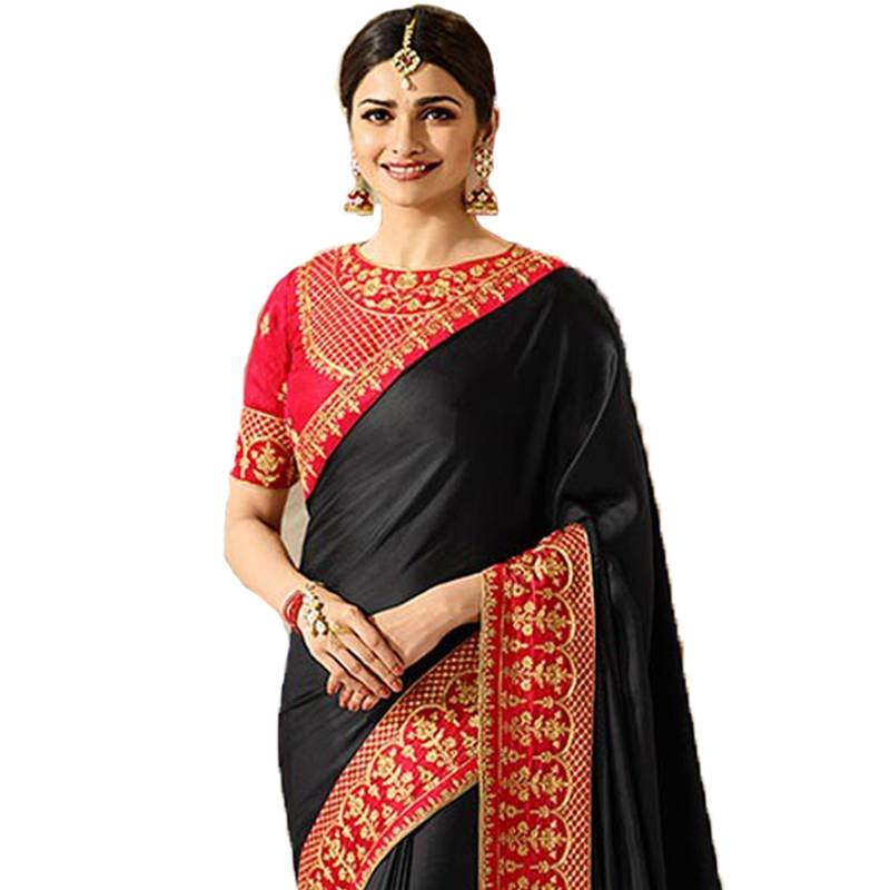 719335b6292946 Black embroidered faux georgette saree with blouse - Mannequin Store ...