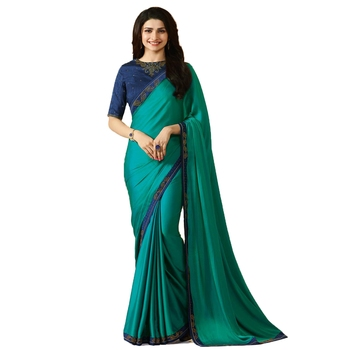Aqua blue plain faux georgette saree with blouse