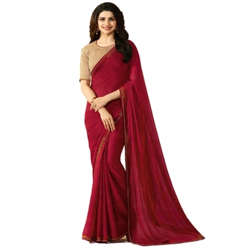 Maroon plain faux georgette saree with blouse