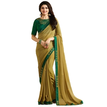 Yellow plain faux georgette saree with blouse