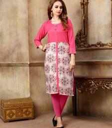 Baby pink printed rayon kurti
