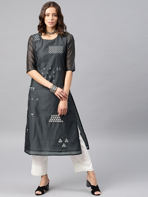 Grey Printed Chanderi Stitched Kurti