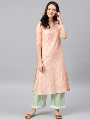 Peach Printed Chanderi Stitched Kurti
