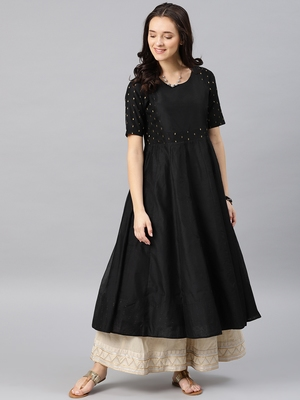 Black Printed Chanderi Stitched Kurti