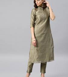 Grey Embroidered Chanderi Stitched Kurti With Trouser