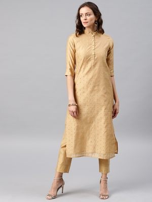 Beige Embroidered Chanderi Stitched Kurti with Trouser