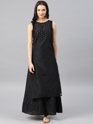 Black Embroidered Chanderi Stitched Kurti with Skirts