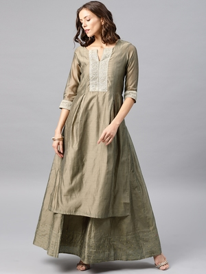 Grey Embroidered Chanderi Stitched Kurti With Skirt