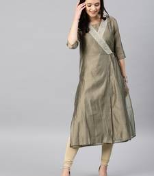 Grey Embroidered Chanderi Stitched Kurti With Churidar