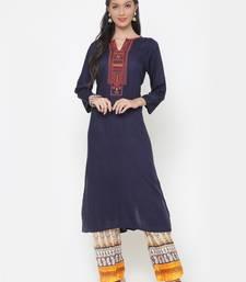 Buy Navy-blue embroidered cotton cotton-kurtis cotton-kurtis online