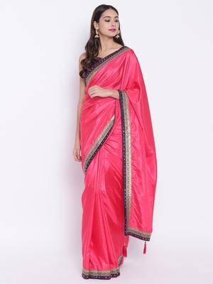 Chhabra 555 Pink Plain Art Silk saree with blouse