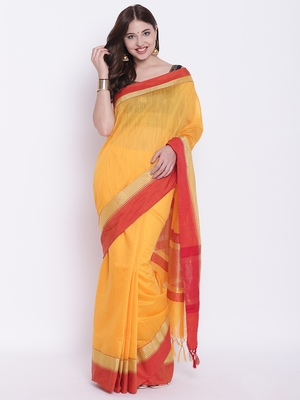 Chhabra 555 Mustard Plain Silk Cotton saree with blouse
