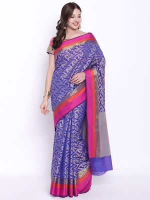 Chhabra 555 Blue Woven Art Silk saree with blouse