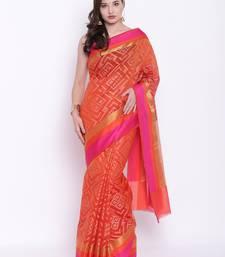 Buy Chhabra 555 Orange Woven Art Silk saree with blouse art-silk-saree online