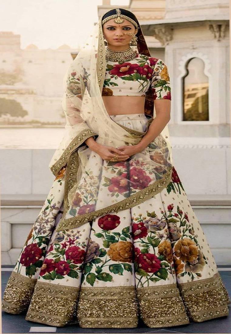 0fb03c3fab ... Cream Colored Floral Print Partywear Designer Embroidered Art Silk  Lehenga Choli Set